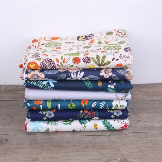 7Pcs/Set DIY Cotton Cloths Twill Printed Fabric Quilting Sewing Material