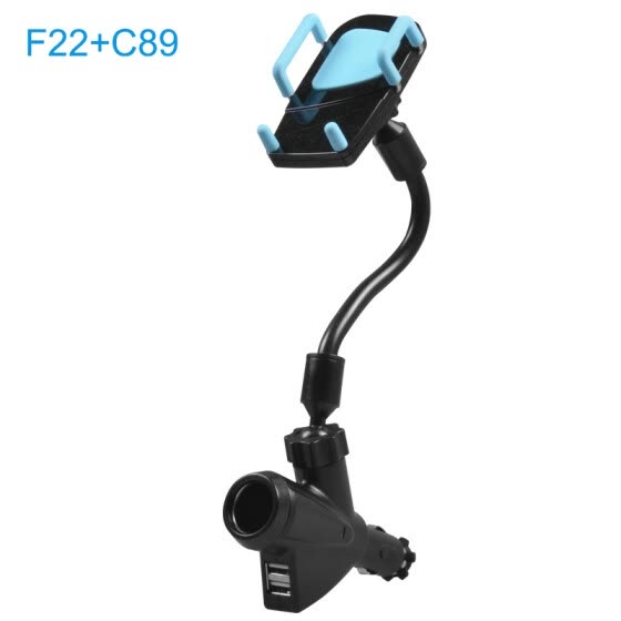 Car Universal Phone Holder Stand With Dual Usb Car Charger Cigarette Lighter Power Adapter New