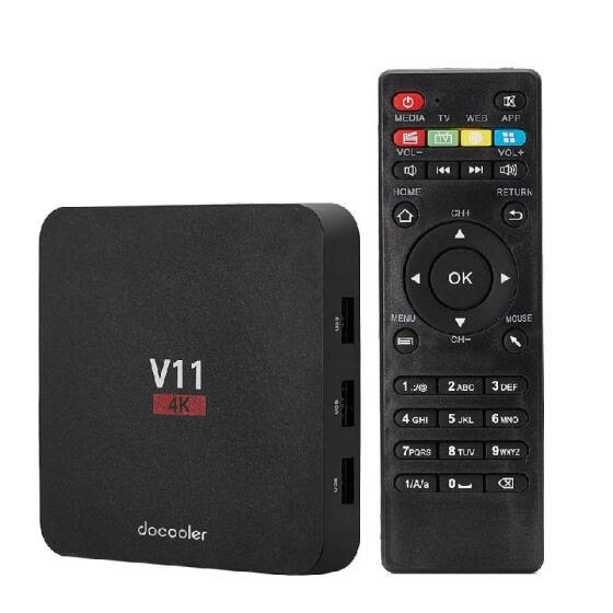 Docooler V11 Android 6.0 TV Box RK3229 Quad Core 2G + 8G 32Bit H.265 UHD 4K VP9 3D Mini PC  Display DLNA US Plug