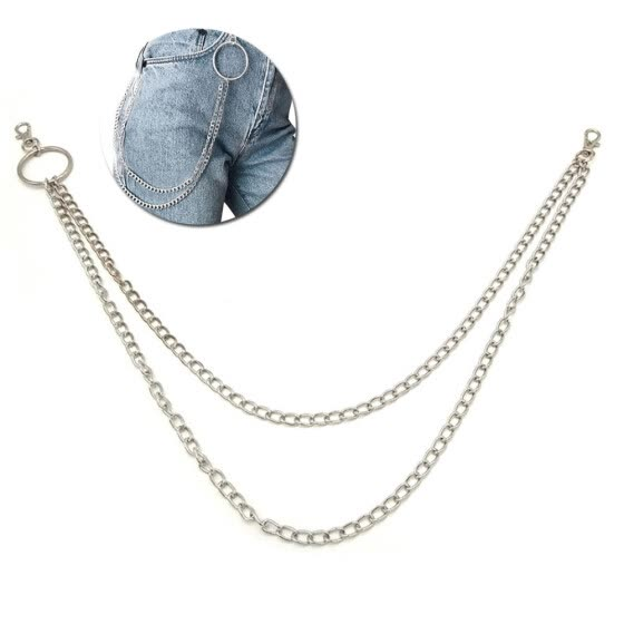 Pants Chain Fashion Dual Layers Metal Trousers Chain Jean Keychain for Men Women