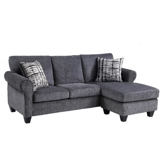 Convertible Sectional Sofa with Two Pillows,Living Room L-Shape 3-Seater Upholstered Couch  with Modern Linen Fabric for Small Spa