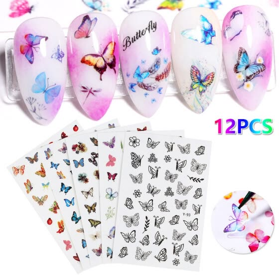 Willstar 12X 3D Mix Color Holographic Butterfly Nail Art Stickers Decals Wings Decoration