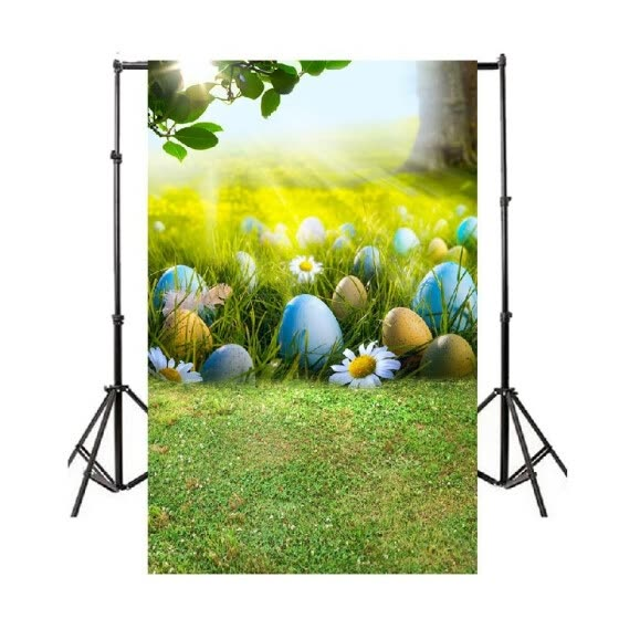 New Easter Day Backdrop Spring Photography Colorful Eggs Green Grass Flower Children Photoshoot Prop for Studio 8x6ft XT-5227-D-3070