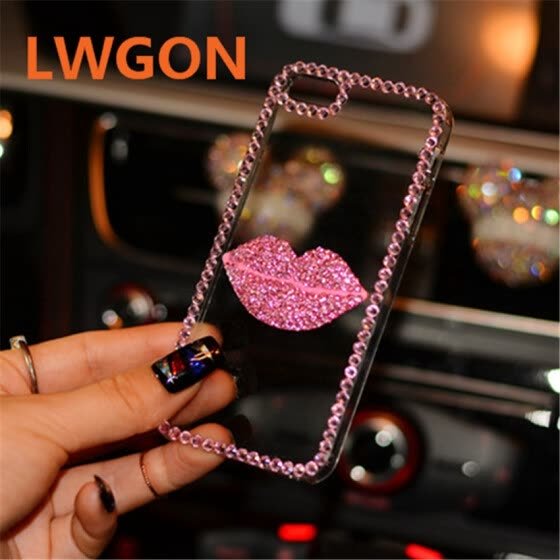 Bling Daimond Rose Red Pink Lip Case For Xiaomi Redmi Note 5 AI Dual Camera