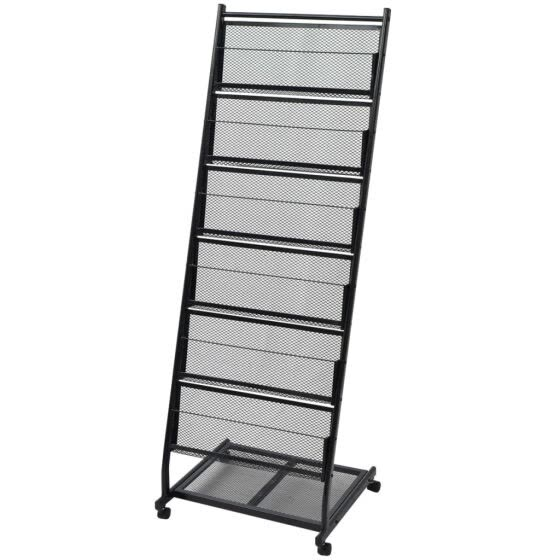 "Cusimax Magazine Rack 18.7""x16.9""x52.4"" Black A4"