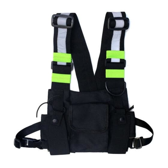 Men Women Fashion Chest Rig Bag Reflective Vest Hip Hop Streetwear Functional Harness Chest Bag Pack Front Waist Pouch Backpack