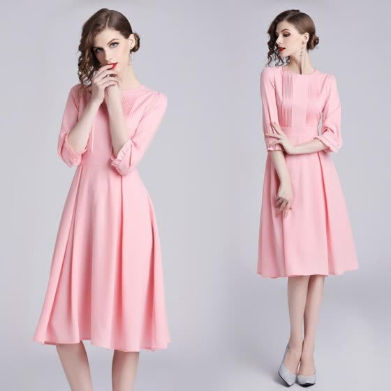 f7e9d0062df8ea4 S-XXL элегантное новое летнее платье-миди 2019 года женщин с рукавами 3/