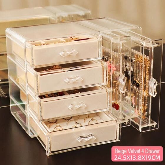 4 DrawersJewelry Bracelet Storage Box Acrylic Portable Earrings Necklace Storage