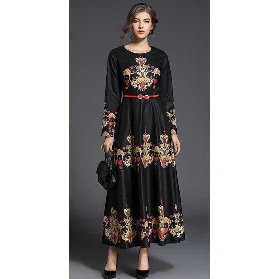 8247eff63ac4 M L XL XXL vintage new autumn 2018 women long maxi dress long sleeve black  gold flower