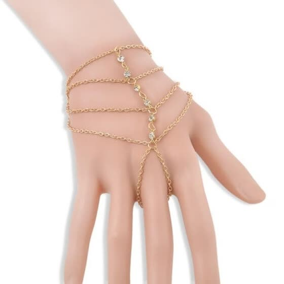 New Fashion Multi Chain Tassel Bracelet Bangle Slave Finger Ring Hand Harness Jewelry
