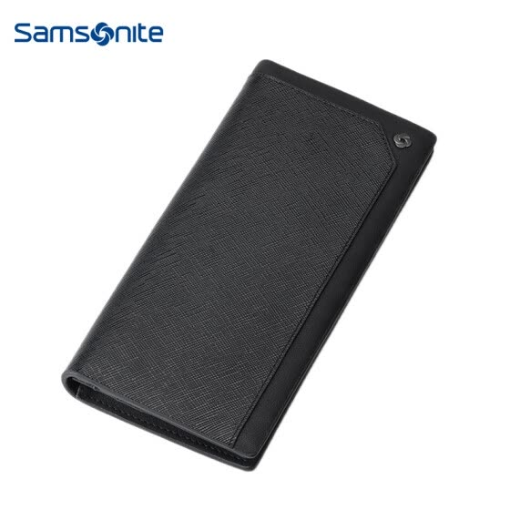 Samsonite Y-BIZ Men's Business Long Wallet Casual Multifunction Fashion Leather Wallet TK8*09005 Black