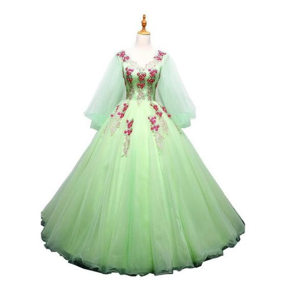 Quinceanera Dresses 2019 New The Prom Half Sleeve Sexy V-neck Luxury Flower Embroidery Ball Gown Candy Color Noble Prom Dress