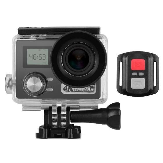 4K Action Camera 2 + 0.96 inches Dual LCD Screen 30m Waterproof 30FPS 170° Ultra-wide Angle Lens  Sharing 64GB External Memory wit