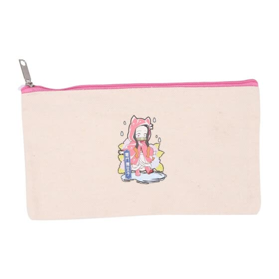 Canvas Zipper Pouch Bag Canvas Pencil Case Canvas Makeup Bag Cosmetic Pouch Case For School Travel