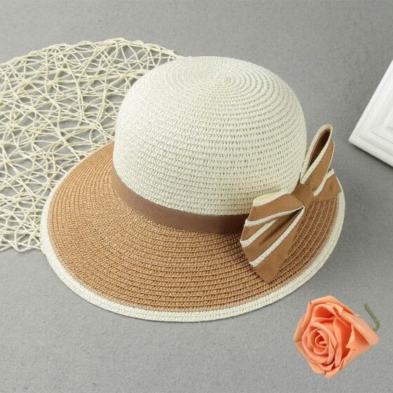 ab8674ef New Fashion Women Bow Straw Hat Contrast Color Wide Brim Summer Beach Sun  Cap Floppy Trilby