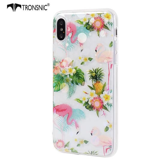 Tronsnic Flamingo Flowers Phone Case for iPhone 6 6s plus Shiny Laser Soft Cases for Transparent Covers