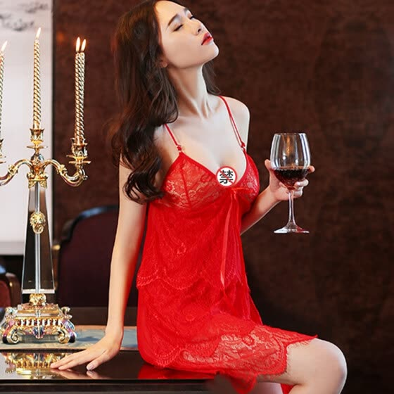 Private cabinet sexy lingerie extreme temptation uniform female suit SM transparent lace pajamas women's nightdress role-playing midnight phantom red