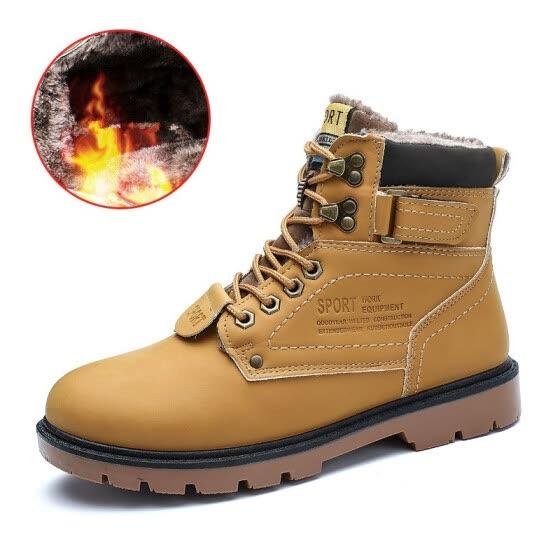 08c68fca1 Botas de hombre cálido de piel de animal de invierno 2019 para hombres  zapatos casuales trabajo