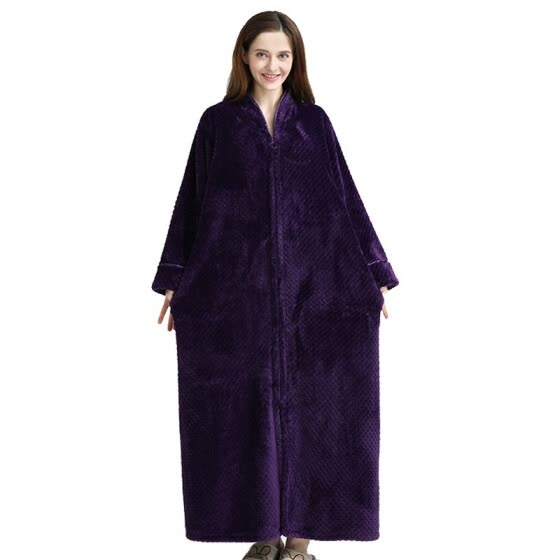 54517e3515 Large Size Lovers Thermal Hooded Long Flannel Bathrobe Women Men Thick Warm  Winter Bath Robe Night