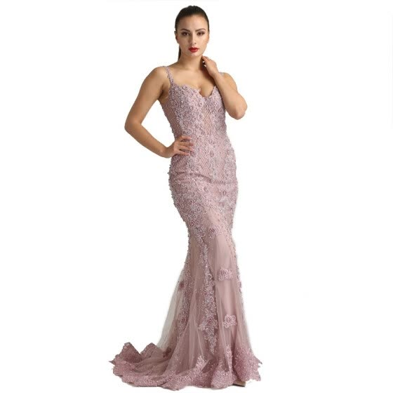 Pink Sexy Elegant Evening Dresses 2018 Lace Pears Diamond Mermaid Formal Evening Dress Real Photo