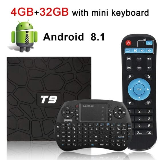 T9 Android 8.1 TV Box with Remote Control & Mini Keyboard, 4GB RAM 32GB ROM RK3328 Quad-core, Support 4K Full HD 2.4Ghz WiFi BT 4.