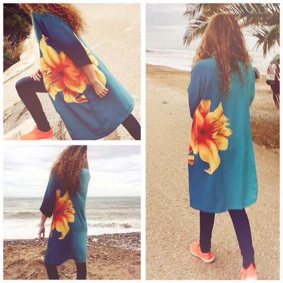 e45850f2d Women Chiffon Kimono Cardigan Floral Print Boho Loose Outerwear Beachwear  Bikini Cover Up Blue
