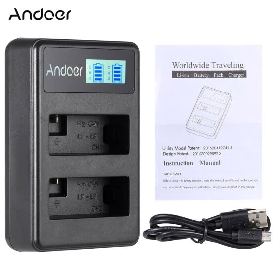 Andoer LP-E8 Rechargeable LED Display Li-ion Battery Charger Pack 2-Slot USB Cable Kit for Canon Rebel T3i T5i T4i T2i EOS 600D 55