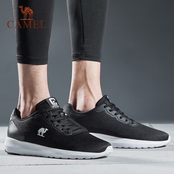 Camel (CAMEL) sneakers for men and women couples running shoes student fashion casual shoes lightweight breathable running shoes A912600045 male models black / white 38
