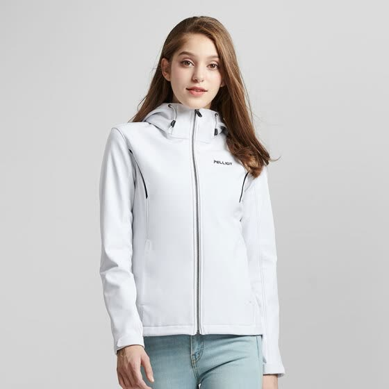 PICHOT outdoor soft shell jacket men and women autumn and winter windproof warm casual sports jacket 12830604 (female) polar white L