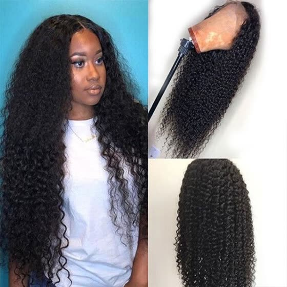 Human Hair Kinky Curly Middle Part Frontal Lace Front Wigs with Baby Hair Malaysian Long Curly Wig Natural Black Pre Plucked