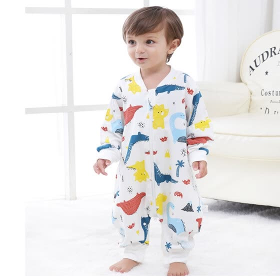 9i9 long love long children's legs sleeping bag baby anti-kicked baby cotton gauze pajamas romper spring and summer thin section 1900112