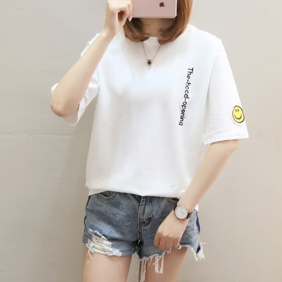 Long Yue women's 2019 summer new solid color short-sleeved T-shirt female Korean version of the embroidery round neck loose shirt LWTD191511 white M