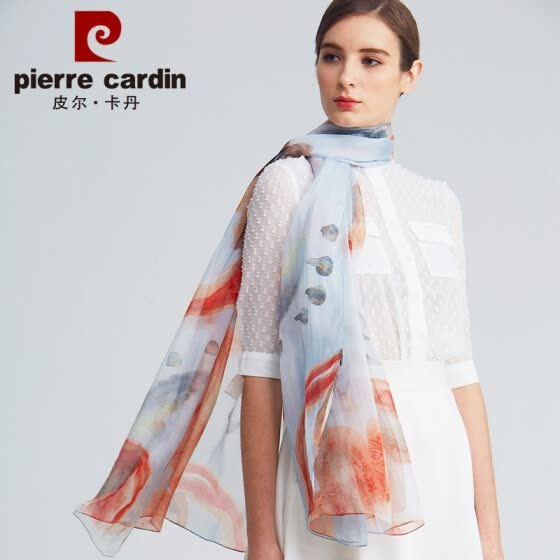 Pierre Cardin silk scarf women 2019 spring and summer new high-grade silk scarf thin section summer sunscreen seaside travel Valentine's Day gift E12TM5703 orange red