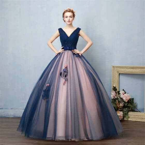 Hot Sales 2019 Navy Flowers Gowns Women V-neck Ball Gown Lace Quinceanera Dresses Party Dress