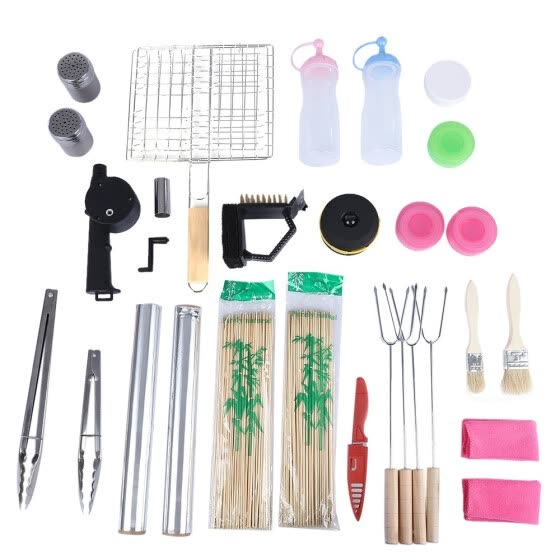 Outdoor Camping Barbecue Tools Set Contains 16 Different Kinds of BBQ Accessories