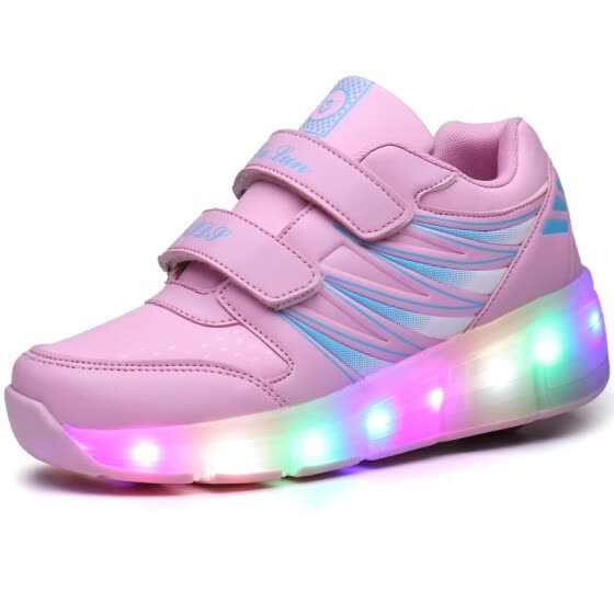 Children LED Shoes Kids Light Up Roller Skate Sneakers With Wheels Boy Girl  tenis infantil Glowing 3ac72dc45f9a