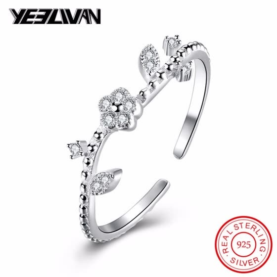 Fashion Elegant Original 925 Sterling Silver Dazzling Daisy Leaf Flower Rings for Women Adjustable Wedding Jewelry anillos mujer