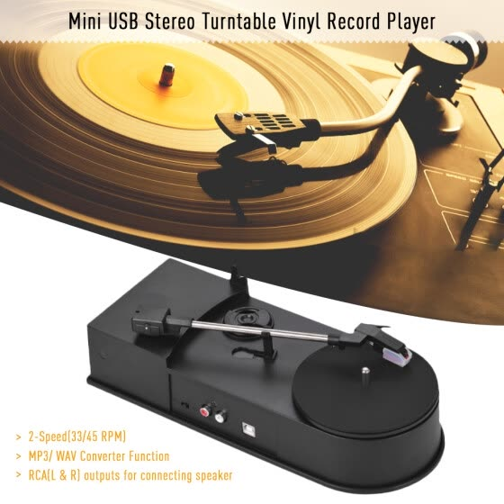 Shop Mini USB Stereo Turntable Vinyl Record Player 2-Speed(33/45 RPM