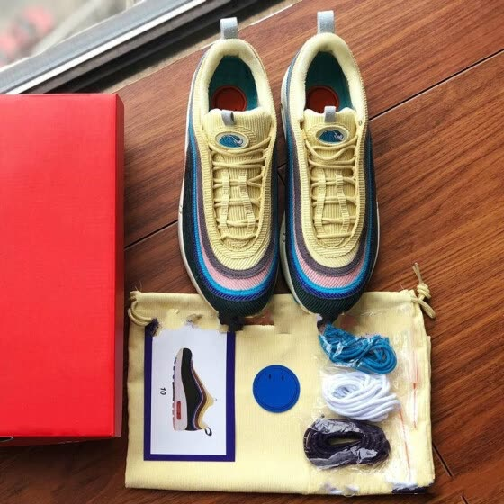 97 Sean Wotherspoon Designer Shoes With Box 97s SW Vivid Sulfur Multi Yellow Blue Hybrid Running Shoes Men Women Sport Sneakers