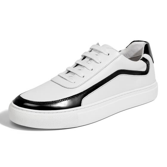 Golf (GOLF) Men's Lace-up Leather Wild Classic Stripes Color Trend Casual Sports Low-top Shoes GM1809344 White 38