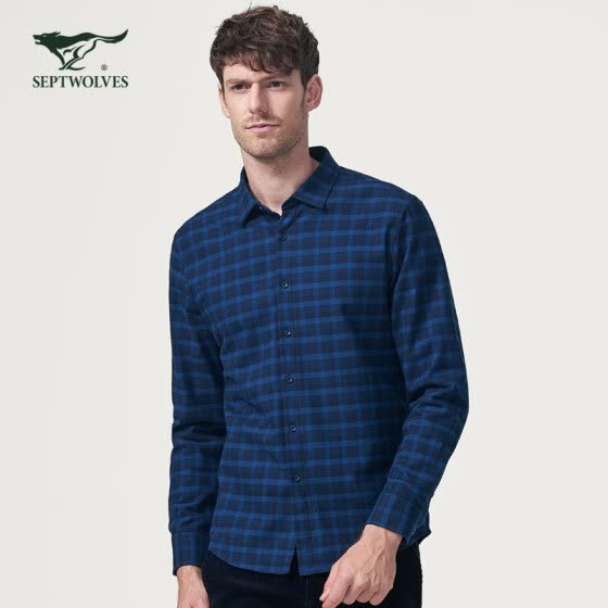 Seven wolves long-sleeved shirt men's new business casual men's square collar plus velvet cotton plaid long-sleeved shirt men's 102 (dark blue) 170/50A/L