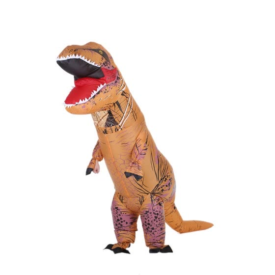 Decdeal Funny Adult Inflatable Dinosaur Trex Costume Suit Air Fan Operated Blow Up Halloween Cosplay Fancy Dress Animal Costume Ju