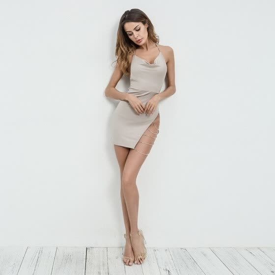 Women Fashion Backless Dress Sexy V-neck Party Dresses Halter Dress Spring Summer Bodycon Bandage Dress