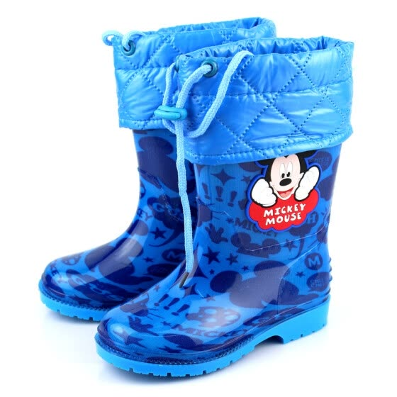 Disney children's rain boots rain boots autumn and winter models baby plus velvet non-slip warm water shoes boys and girls children's rubber shoes 14760-Sapphire 29