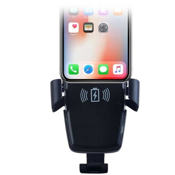 car wireless charging bracket mobile phone holder air outlet snap-on electric induction bracket   fast charge black