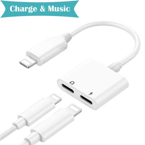 Dual 2in1 Lightning Adapter iPhone 8 X Headphone Charging Jack 1 Audio Splitter