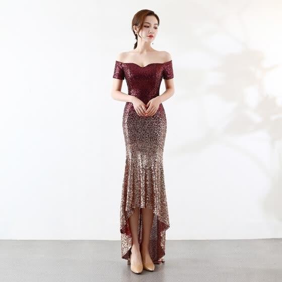 29e93b1a22 Shop Front Short Back Long Mermaid Evening Dress Fashion Boat Neck ...