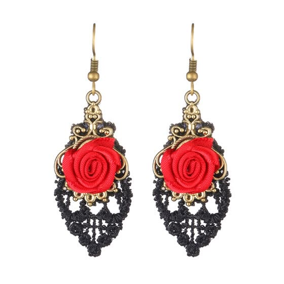 Fashion Rose Flower Earrings Lace Ornament Exaggerated Jewelry Earrings for Nightclub Prom