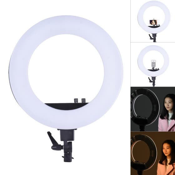 Andoer 18 Inch LED Video Ring Light Fill-in Lamp Studio Photography Lighting 50W Adjustable Brightness 3200-5500K Color Temperatur