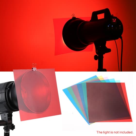 6pcs 25 * 20cm Transparent Lighting Color Correction Gel Sheets Filters Set for Flash Light Speedlite (Red/ Blue/ Green/ Cyan/ Yel